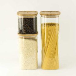 Glasdose quadratisch 1400ml mit Bambusdeckel