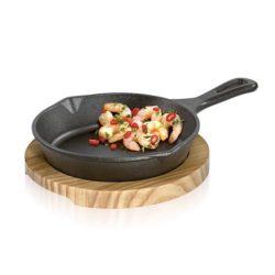 BBQ Servierpfanne rund mit Holzbrett