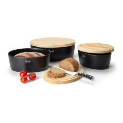 Brottopf schwarz mit Holzdeckel, groß