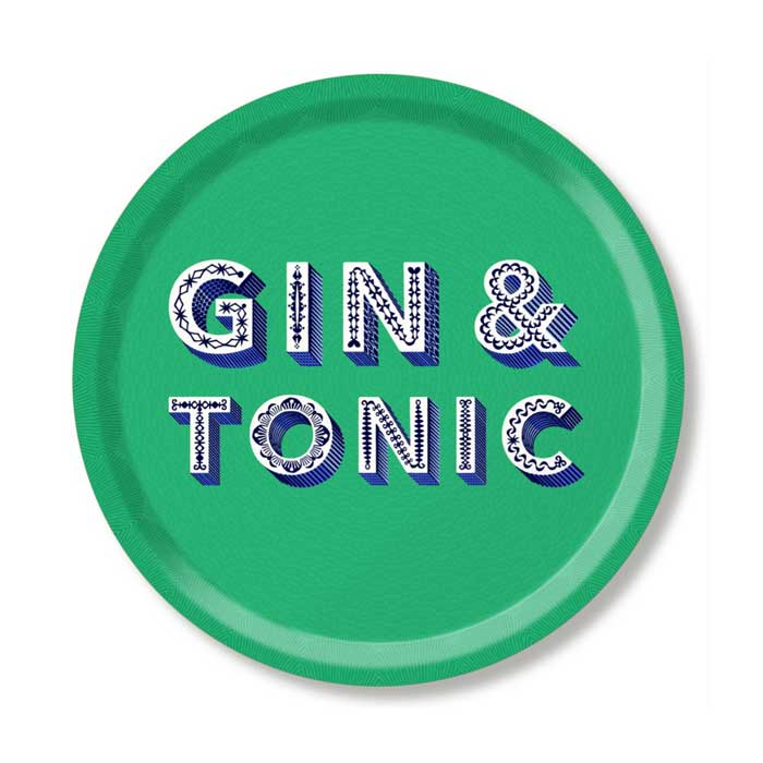 Tablett GIN&TONIC rund 31 cm