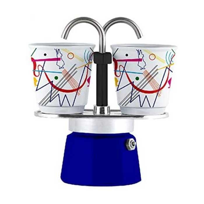 MINI Espressokocher 2 Tassen Kandinsky blau